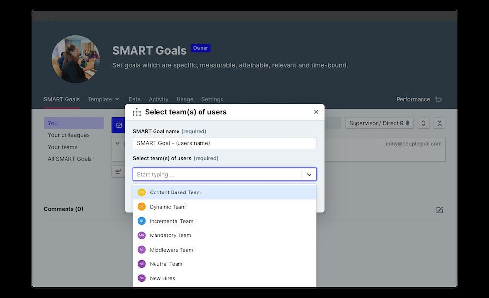 smart goals template permissions launch