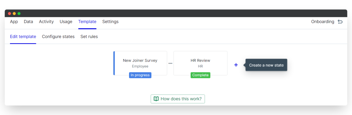 new joiner survey - create a new state