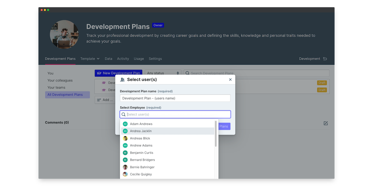 iqmetrix development plans peoplegoal