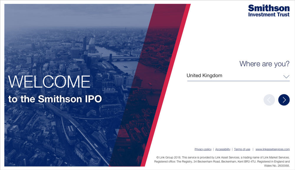 Smithson IPO: Landing page