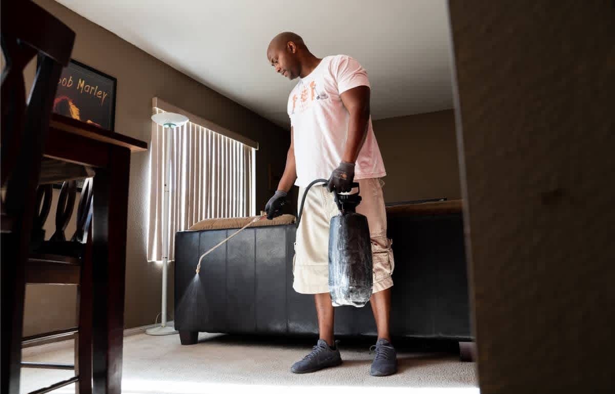Cleaning Pro cleaning carpet in a customer's home