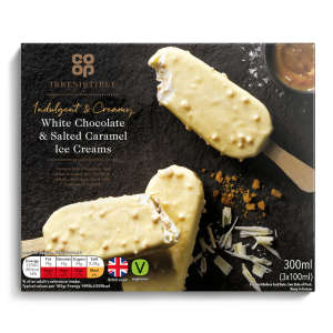Co-op Irresistible Indulgent & Creamy White Chocolate & Salted Caramel Ice Creams 3x100ml (300ml)