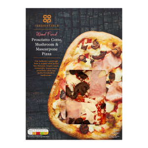 Co-op Irresistible Prosciutto Cotto, Mushroom & Mascarpone Pizza 505g