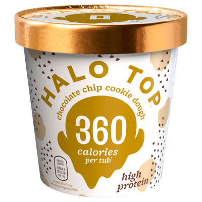 Halo Top Chocolate Chip Cookie Dough Low Calorie Ice Cream 473ml