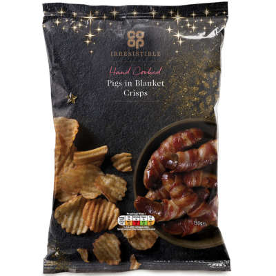 Co-op Irresistible Pigs in Blankets Hand Cooked Crisps 150g