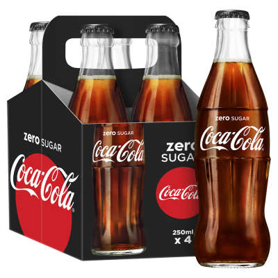 Coca Cola Zero Sugar Glass Bottle 4x250ml