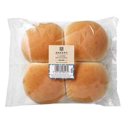 Co-op 4 Large White Baps