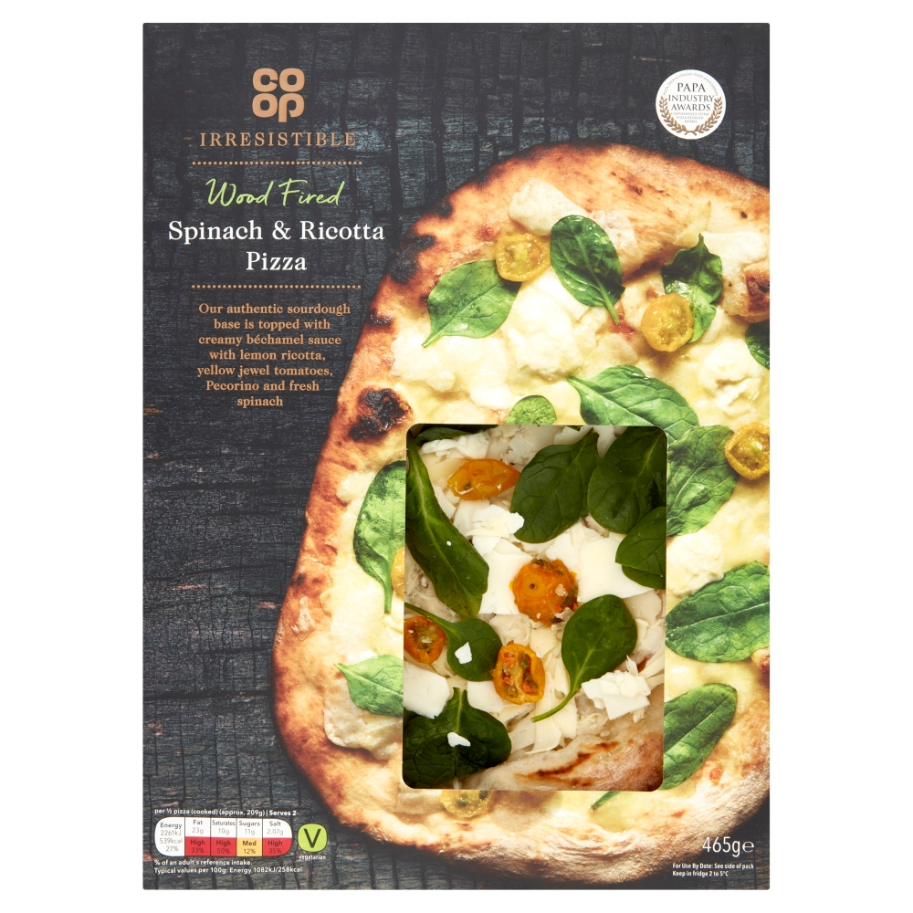 Co Op Irresistible Wood Fired Spinach Ricotta Pizza 465g Co Op
