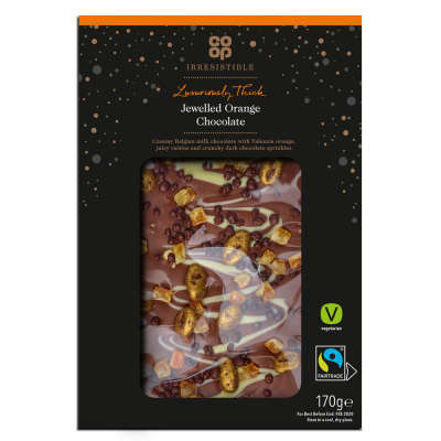 Co-op Irresistible Jewelled Orange Chocolate Slab 170g