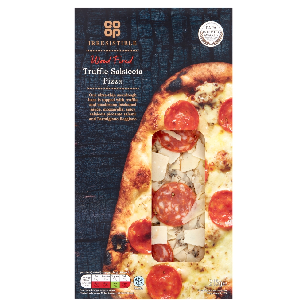 Co Op Limited Edition Irresistible Wood Fired Truffle Salsiccia Salami Pizza 215g Co Op