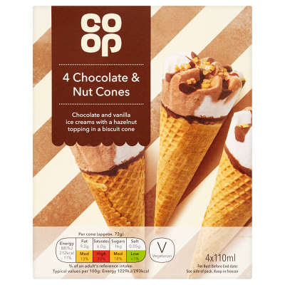 Co-op Chocolate and Nut Cones 4x110ml