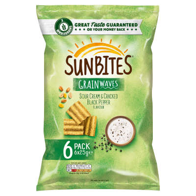 Walkers Sunbites Sour Cream & Cracked Black Pepper 6x25g