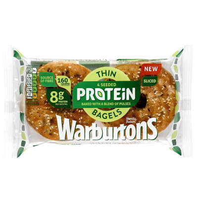Warburtons Seeded Thin Protein Bagels