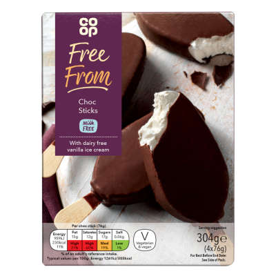 Co-op Free From Choc Sticks 4x76g - Milk Free