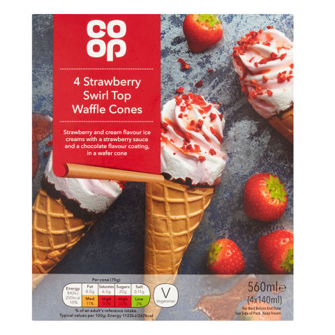 Co-op Strawberry Swirl Top Waffle Cones 4x140ml