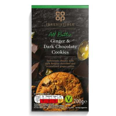 Co-op Irresistible Dark Chocolate and Ginger Cookies 200g