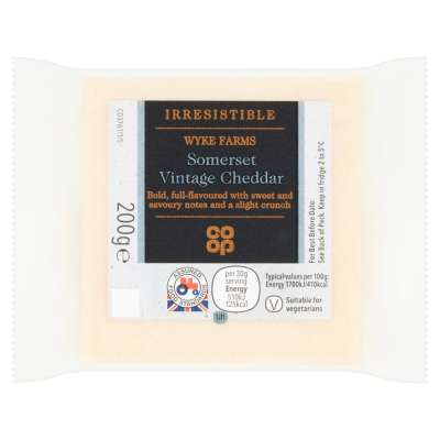 Co-op Irresistible Somerset Vintage Cheddar Cheese 200g