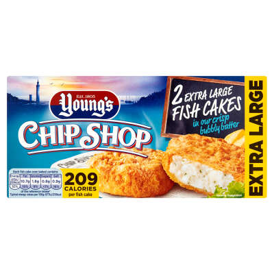 Young's 2 Chip Shop Jumbo Specials Fish Cakes in Bubbly Batter 210g