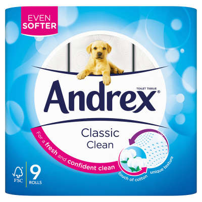 Andrex Classic Clean Toilet Tissue 9 Roll