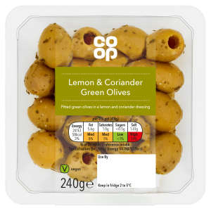 Co-op Lemon & Coriander Green Olives 240g