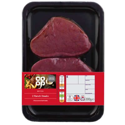 Co-op 2 Beef Ranch Steaks 300g