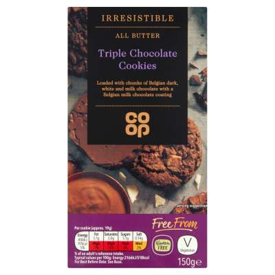 Co-op Irresistible All Butter Triple Chocolate Cookies 150g - Gluten Free