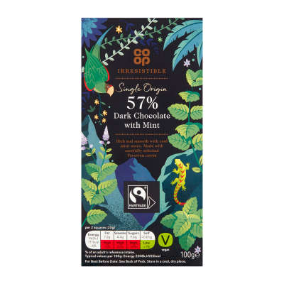 Co-op Irresistible Dark Chocolate 57% with Mint 100g