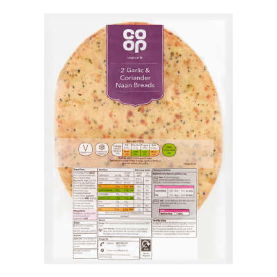 Co-op Garlic and Coriander Naan 260g