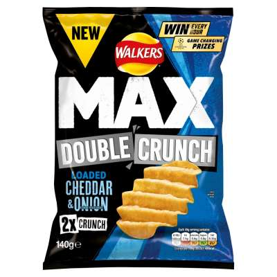 Walkers Max Double Crunch Cheddar and Onion 140g