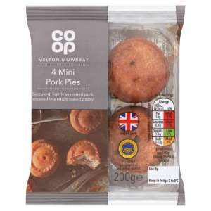 Co-op 4 Mini Melton Mowbray Pork Pies 200g