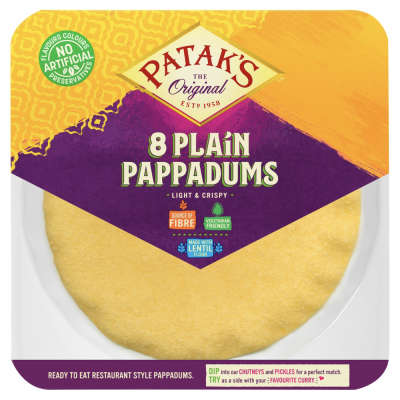 Patak's Ready To Eat Plain Pappadums 8 Pack 64g
