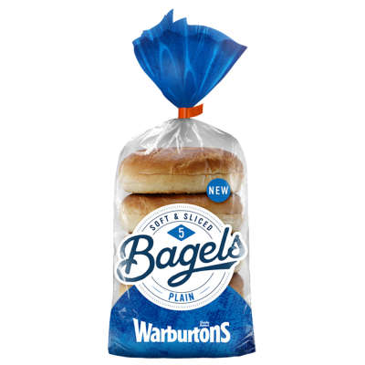 Warburtons Bagels Plain 5 Pack