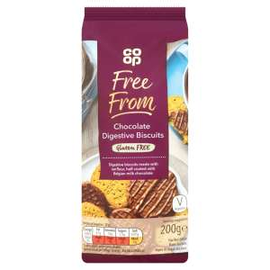 Co-op Free From Half Coated Milk Chocolate Digestives 200g - Gluten Free