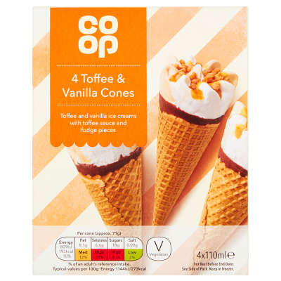 Co-op Toffee And Vanilla Cones 4x110ml
