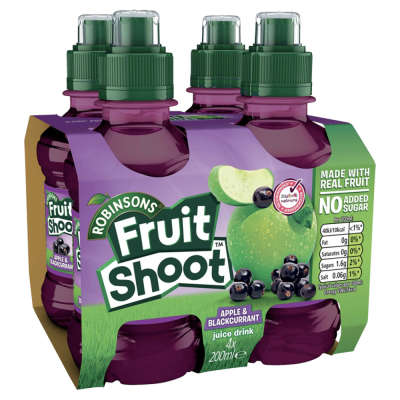 Robinsons Fruit Shoots Low Sugar Blackcurrant And Apple 4x200ml