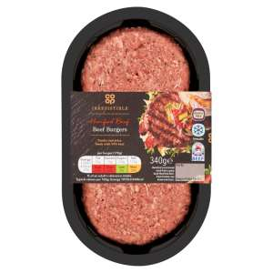 Co-op Irresistible Hereford Beef Burgers 2 pack 340g - Gluten Free