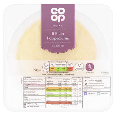 Co-op Plain Poppadums 8 Pack
