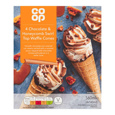 Co-op 4 Chocolate & Honeycomb Swirl Top Waffle Cones 4x140ml (560ml)