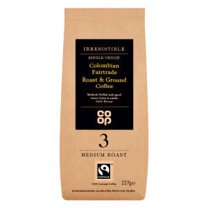 Co-op Irresistible Fairtrade Colombian Roast and Ground Coffee 227g
