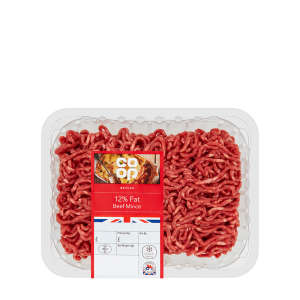 Co-op British Beef Mince 12% Fat 450g