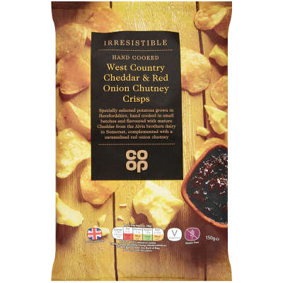 Co-op Irresistible Mature Cheddar and Caramelised Red Onion Crisps 150g - Gluten Free