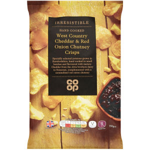 Co-op Irresistible Mature Cheddar and Caramelised Red Onion Crisps 150g