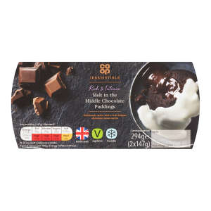 Co-op Irresistible Melt In The Middle Chocolate Puddings Twin Pots 2x147g