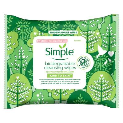 Simple Biodegradable Cleansing Wipes 20 Pack