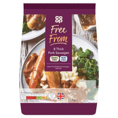 Co-op Free From 8 Thick Pork Sausages 454g - Milk Free