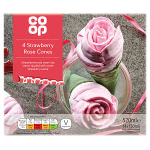Co-op 4 Strawberry Rose Cones 4 x 130ml (520ml)