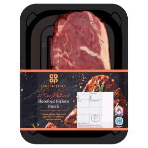 Co-op Irresistible 28 Day Matured Hereford Sirloin Steak 227g