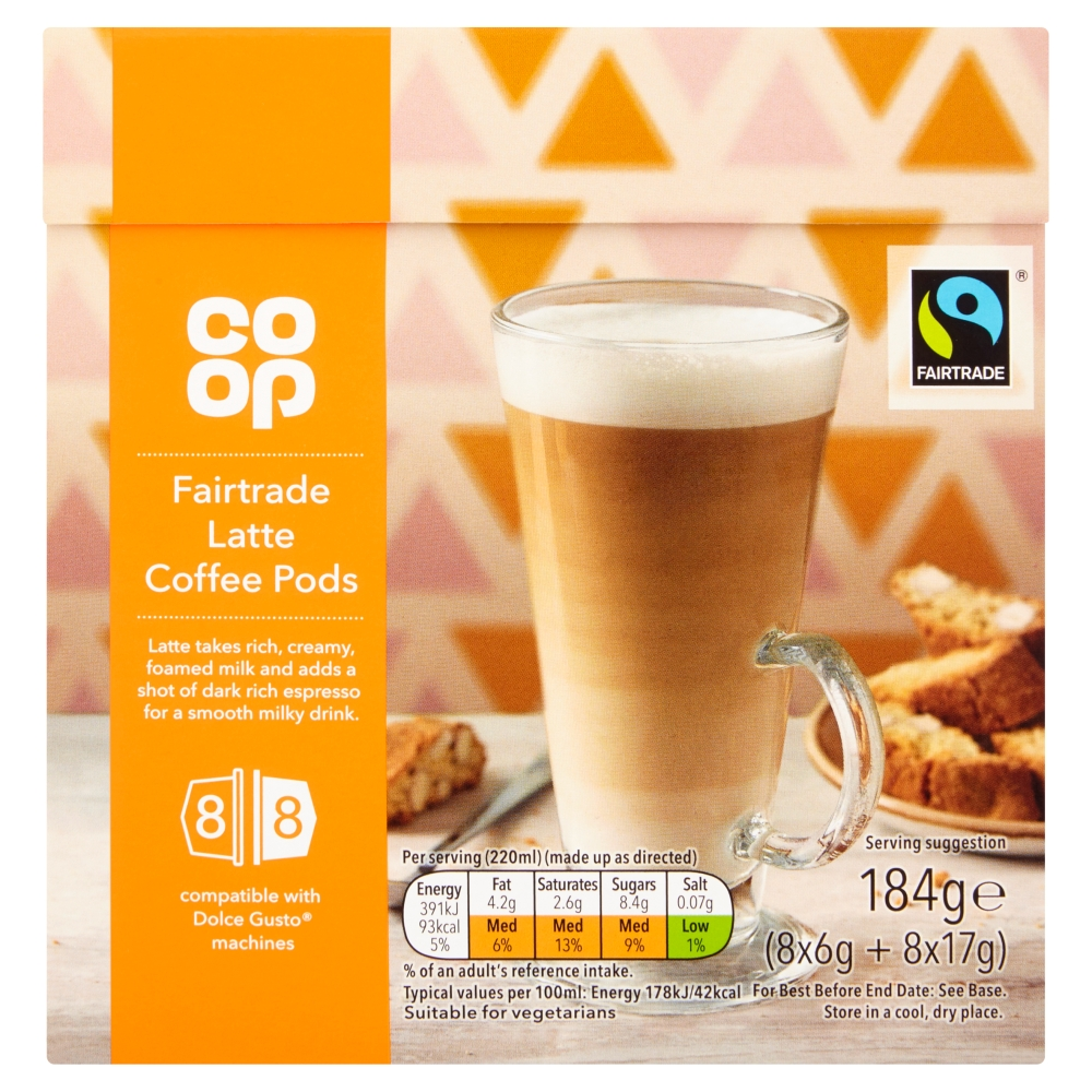 Co-op Fairtrade Latte Coffee Pods 184g