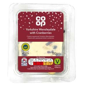 Co-op Irresistible Yorkshire Wensleydale Cheese with Cranberry 180g