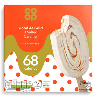 Co-op Good As Gold 3 Salted Caramel Ice Creams 3 x 90ml (270ml)